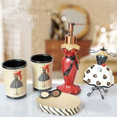 Beautiful Bathroom Ensembles 11069230 fancy creative lotus design 5-pc. bathroom accessories