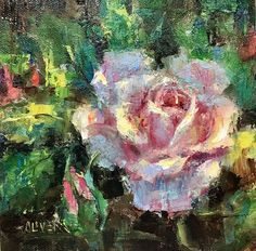 Sunlight+On+Rose,+painting+by+artist+Julie+Ford+Oliver