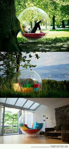 Would be a great way to avoid windy papers when I want to work out… - Techno Gadgets Bubble Tent, Bubble Chair, Future House, My House, Techno Gadgets, Modelos 3d, 3d Warehouse, Cool Inventions, Outdoor Living