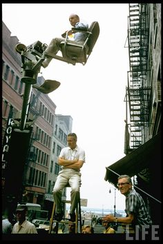 Directors Jerome Robbins and Robert Wise on the set of West side story, 1961 West Side Story 1961, Jerome Robbins, Robert Wise, The Searchers, American Ballet Theatre, City Ballet, Slice Of Life, Music Photo, Life Magazine