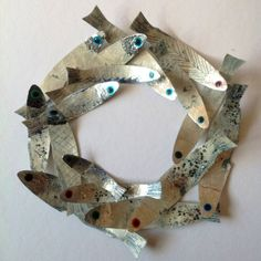 Glittery Silver Fish Circle framed original by JennyGunnArt, $60.00. (Inspiration for my ceramic class.)