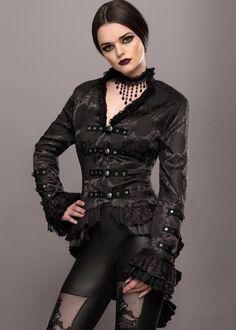 Elegant Black Victorian Jacket with Lace Embellishments