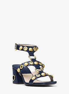 Kat Embellished Leather Sandal by Michael Kors