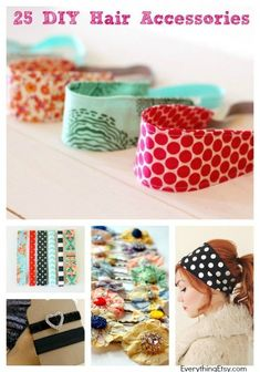 25 DIY Hair Accessories to Make Now! DIY Hair Accessories…Girls Just Want to Have Fun! Have a little fun creating your own hair accessories in the . Do It Yourself Jewelry, Do It Yourself Fashion, Sewing Patterns Free, Free Sewing, Diy Accessoires, Diy Headband, Girls Hair Accessories, Diy Hair Accessories To Sell, Diy Fashion Accessories