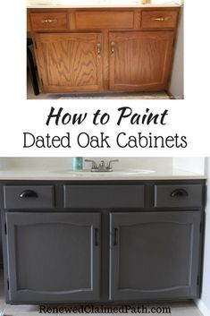 I'm sharing an easy way to paint your cabinets without priming or sanding. Save money and your budget by DIY painting cabinets yourself diy home improvement How to Paint Dated Oak Cabinets - Renewed Claimed Path Armoires Diy, Diy Home Decor For Apartments, Painting Cabinets, Paint For Bathroom Cabinets, Painted Oak Cabinets, Painting Bathroom Vanities, Best Paint For Cabinets, Refinish Bathroom Vanity, How To Paint Kitchen Cabinets