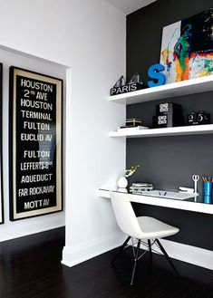 belle maison: Home Tour: Stacey Cohen's Posh Condo for my office - install desk and shelves