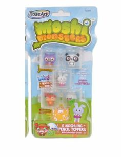 Moshi Monsters Moshlings Pencil Toppers- Chop Chop, Pooky, Prof Purplex, Shi Shi & Honey by Mega Brands, Inc. $11.79. Variety includes Chop Chop, Pooky, Prof Purplex, Shi Shi, Honey & 1 Mystery Moshling. Character Checklist. Collect Them All. 6 Topper Cases. 6 Pencil Toppers. Moshi Monsters Moshlings Pencil Toppers.  The moshling pencil topper sets come with col interlocking cases so you can mix and match with friends!  Each package comes with a variety of 5 Mosh...