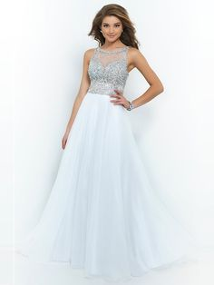 A-Line/Princess Jewel Beading Sleeveless Chiffon Floor-Length Dresses