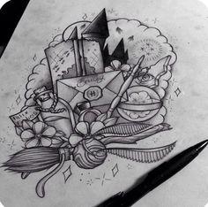 Harry Potter Tattoo Design (Unknown Artist) <3