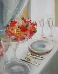 """Dinner Flowers"" by Janet Hill Sweetest Devotion, Jane Hill, Canadian Artists, Room Paint, Original Artwork, Table Settings, Illustration Art, Artsy, Art Interiors"
