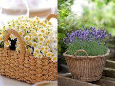 Vasos alternativos para flores!: Essas sugestões são mais campestres. Dá para usar cestinhas pequenas e também grandes, para arranjos de chão. Se a ideia é que as flores não morram logo, basta colocar um vaso dentro de altura menor que a da cesta.