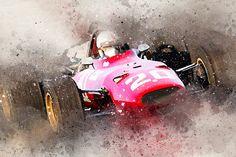 Nu in de veilingen: Artist Impression Chris Amon Ferrari 1967 Amon, Ferrari Racing, Gilles Villeneuve, Garage Art, Concrete Art, Vintage Art Prints, Poster S, Car Drawings, Car Images