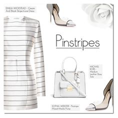 """PERFECT PINSTRIPES"" by larissa-takahassi ❤ liked on Polyvore featuring Sophia Webster, Emilia Wickstead, Michael Kors, perfect and pinstripes"
