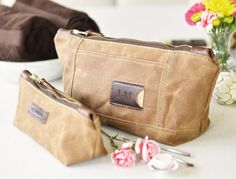 NO. 317 & NO. 275 Personalized Cosmetic Bag Set in Brown Waxed Canvas, Horween Leather, Monogrammed Cosmetic Bags, Anniversary Gift for Her