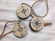 Great gift for hikers! Compass Designs 1.5 Tree Slice Christmas by SheLikesLetters