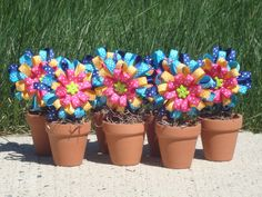 Girl's Birthday Party Favor - Flower Pot Hair Bow Favors - Blue, Teal, Yellow, Pink #kids #girls #party #favor