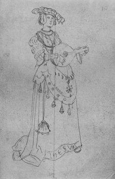 Title: Junge weibliche Gestalt, Laute spielend              Tags: Hat, Trossfrau, Neckchain, Pouch, Musician              Date: ca. 1525-1530                        Artist: Hans Baldung Grien              Provenance: Germany              Collection: Statens Museum for Kunst, Den Kongelige Kobberstiksamling