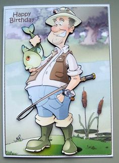 Fishing Dude Big Fish A4 Male BirthdayBirthday Cards