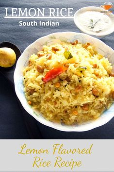 Lemon rice is a delicious South Indian Recipe made with steamed rice, flavored with lemon juice. Lemon gives this rice an amazing tangy flavor and freshness. #lemonrice #rice #thetastesofindia Rice Recipes For Lunch, Easy Rice Recipes, Side Dish Recipes, New Recipes, Healthy Vegetables, Healthy Foods, Healthy Recipes, Vegetable Recipes, Vegetarian Recipes