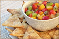 pie chips and fruit sald. this sounds amazing and super easy to make. next time i have to bring food to a party i am bringing this.
