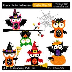 cute owls clipart digital clip art bats spider witch - Happy Hootin Halloween 4 - Digital Clip Art - Personal Commercial Use