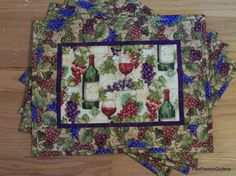 Quilted Place Mats Grapes and Wine Bottles  by PatsPassionQuilteds, $54.00
