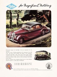 Riley for Magnificent Motoring.  Riley Cars, 55-56 Pall Mall, S.W.1., [c.1950s]. #vintage #motoring #advertisement