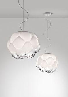 Suspension Cloudy LED / Ø 26 cm Ø 26 cm / Blanc & transparent - Fabbian 478 - 718€