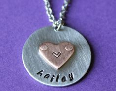 Personalized Handstamped Heart Necklace from StampedFromMyHeart on Etsy :) Hand Stamped Necklace, Washer Necklace, Trending Outfits, Heart, Unique Jewelry, Handmade Gifts, Etsy, Vintage, Kid Craft Gifts