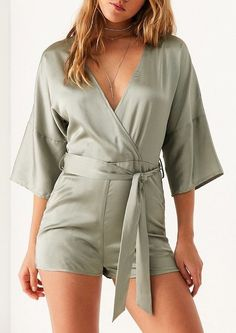Sexy Satin Romper from UO | Green Outfits Summer Outfit For Teen Girls, Summer Outfits Women Over 40, Casual Summer Outfits, Outfits For Teens, Green Outfits, Summer Clothes, Black Dress Sandals, Dress Design Sketches, One Piece Outfit