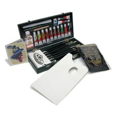 This Painting Box Set by Royal & Langnickel, highlighting their Regis brushes, is great for gift giving or outfitting any artist. This Regis Brush Set features a flip-up brush organizer to keep brushes in great shape. All supplies are stored in a convenient wooden storage box with handle for ease of use, travel and storage. Includes 12 Regis brushes, 1 palette knife, 1 wooden stylus, and 12 oil paint tubes (12 ml.). #GiftIdeas, #ArtSupplies