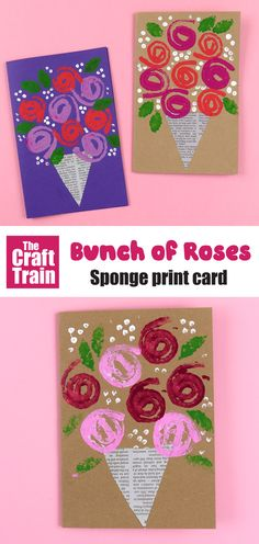Easy stamped roses card to make using a hand made sponge stamp. This is a sweet handmade gift card for Mothers Day, Valentines Day, Get Well Soon or just to show someone you care. So easy! day cards for kids Stamped rose card for Mothers Day Toddler Crafts, Preschool Crafts, Fun Crafts, Paper Crafts, Mothers Day Crafts For Kids, Diy Mothers Day Gifts, Mothers Day Cards Craft, Summer Camp Crafts, Spring Crafts
