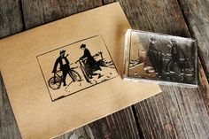 Lovers Biking Stamp  Southern Rubber Stamp  by RedClayStamps, $15.00