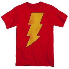 641f4325c Dc - Shazam Logo Distressed Short Sleeve Adult Tall Captain Marvel Shazam