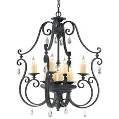 Kings Table Antique Forged Iron Eight-Light Chandelier