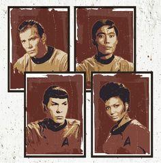 Star Trek Retro Portraits Poster Set - Digital Prints A3/A2/A1 - Kirk - Spock -Hikaru Sulu - Nyota Uhura. #geek #poster #print #startrek #wallart #homedecor