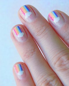 20 Rainbow Nail Art Designs For Colorful Souls Rainbow Nail Art Designs, Colorful Nail Art, Cute Nails, Pretty Nails, My Nails, Cute Nail Art, Kawaii Nails, Instagram Nails, Rainbow Nails