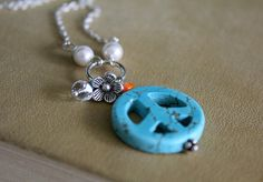 Hippie stone peace sign pearls and crystal by tortugasdesign, $19.95