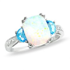 Cushion-Cut Lab-Created Opal and Blue Topaz Ring in 14K White Gold with Diamond Accents - Zales