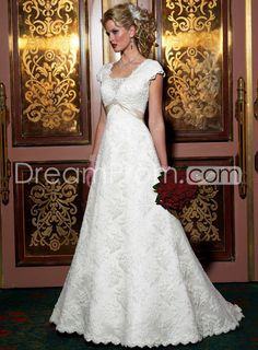 Fancy Floor-length Short-Sleeves Lace A-line/Princess Wedding Dresses