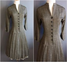 1950s Gay Gibson dropped-waist dress cotton/rayon by edgertor