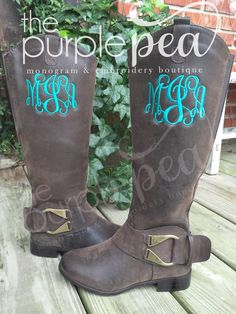 Monogrammed Boots, Ladies by Thepurplepeaboutique on Etsy