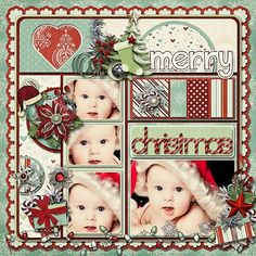 Christmas Scrapbooking Page... Don't have the baby pictures but like the style of the layout!