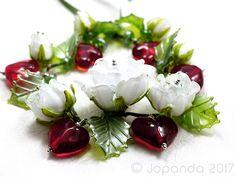 JOPANDA lampwork Glass Beads handmade SRA - White Roses & Red Hearts #Lampwork