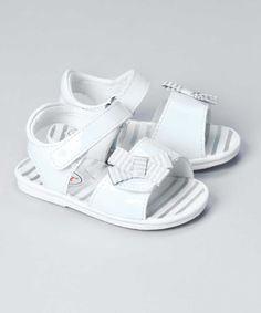 New L'Amour Baby Girls N290 Patent Sandals with Striped Bows | $17.50