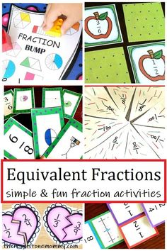 Learning about fractions doesn't have to be complicated. These fun & simple hands on equivalent fractions activities make learning fun. Find equivalent fractions games and other activities for fractions. Fractions For Kids, Equivalent Fractions, Math Fractions, Dividing Fractions, Multiplication, Maths, Math Math, Homeschool Math Curriculum, Math Education