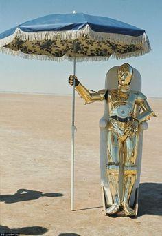 C3PO takes a break on the set of'The Empire Strikes Back', 1979.