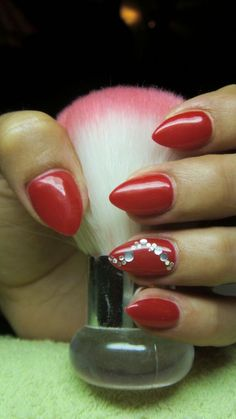 Who said that only dark or pastel manicure can be decorated diamonds? Bright red nails with rhinestones is the design for the queen! See the best ideas about rhinestones on red nails. Crazy Nail Art, Crazy Nails, Get Nails, Hair And Nails, Mani Pedi, Manicure, Bright Red Nails, Trendy Nail Art, Beautiful Nail Designs