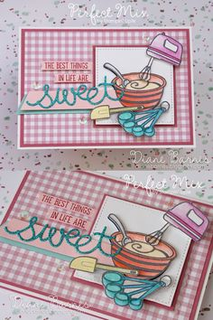 handmade baking themed birthday card using Stampin Up Perfect Mix stamp set & Sweet Cupcake stamp & die bundle. By Di Barnes #colourmehappy
