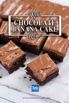 This Keto Chocolate Banana Cake recipe makes a delicious, moist sugar-free dessert with no bananas! The cake is gluten free, grain free and low carb. It's perfect to whip up for afternoon tea or enjoy for dessert. Sugar Free Sweets, Low Carb Sweets, Low Carb Desserts, Sweet Recipes, Cake Recipes, Dessert Recipes, Keto Recipes, Ketogenic Desserts, Cake Ingredients